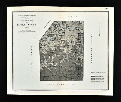 1878 Geological Map - Butler County Pennsylvania - by Lesley - PA Geology Survey
