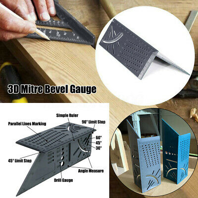 3D Woodworking Mitre Square Angle Marking Gauge Rule W/ Ruler Drill Measure Tool