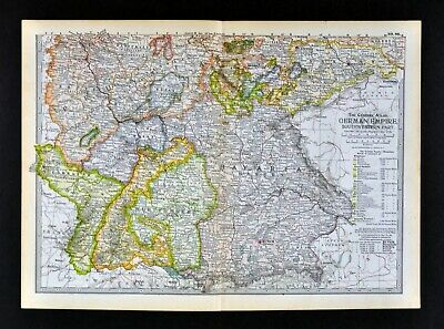 1902 Century Atlas Map South Germany Bavaria Munich Frankfurt Leipzig Nuremberg