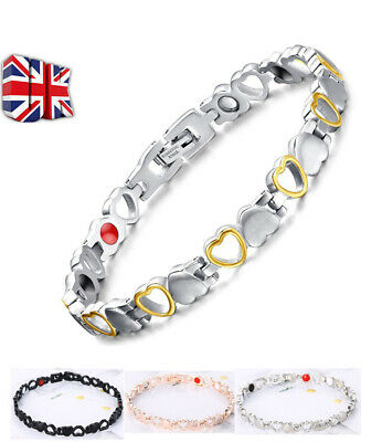 Womens Love Heart Stainless Magnetic Therapy Bracelet Therapeutic Energy Healing