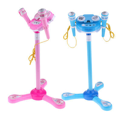 2set Kids Karaoke Machine With 2 Microphone Adjustable Stand Music Play Toys