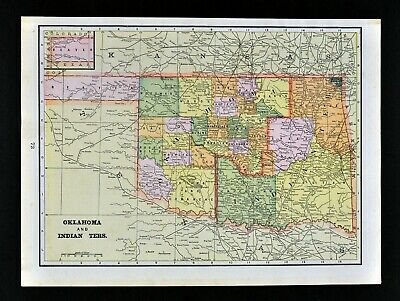c 1890 Cram Map Oklahoma Indian Territory Cherokee Choctaw Osages Creek Apaches