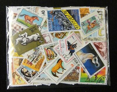 Worldwide Cancelled Stamps 190-200 Pieces in Different -- Horse