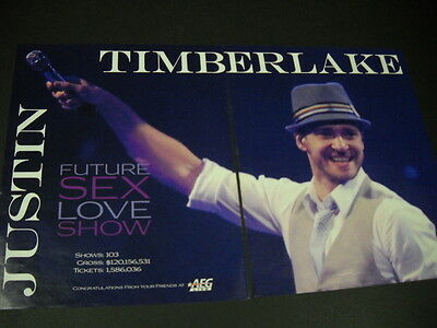 JUSTIN TIMBERLAKE 2007 Two-Piece PROMO POSTER AD Future Sex Love Show mint cond