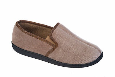 Mens Coolers Brand Corded Microsuede & Polar Fleece Slipper 7-8 Beige