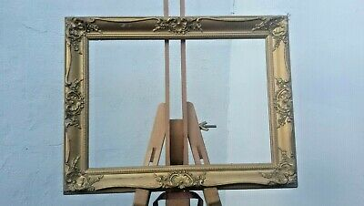 """VINTAGE GOLD ORNATE GESSO WOODEN PICTURE FRAME image 14"""" x 10"""" chipped scuffed"""