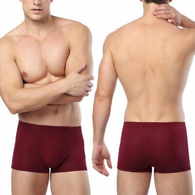 Mens Underwear Boxers Briefs Bamboo Fiber Solid Shorts Sal Pants Breathable C8N4