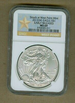 2013(W) U.S. Silver Eagle 1oz UNC Silver NGC MS 69 Early Release Coin