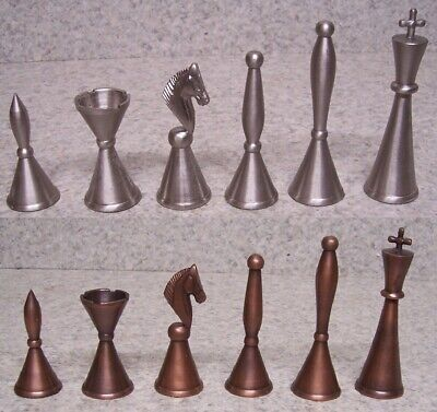 """Chess Set Pieces Solid Brass Art Deco satin chrome and copper NEW 4 1/4"""" kings"""