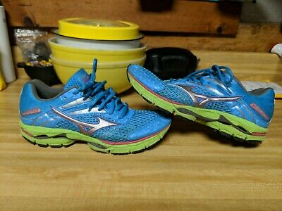 49d996e4c6bf Mizuno Womens 10 (41) Wave Inspire 9 Bright Blue Green Running 8KN-34334