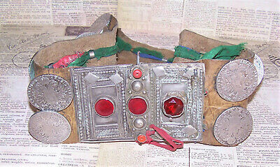 Antique Gypsy Belt of Leather, Glass, Red Coral & Austrian Thaler Silver Coins