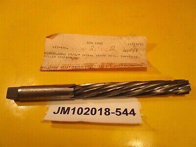 "Gammons Hand Reamer 19/32"" Spiral Flute New Old Stock"