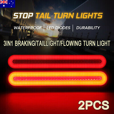 "2X 9"" 3 In1 100LED Stop Flowing Turn Signal Brake Rear Tail Lights Trailer Truck"