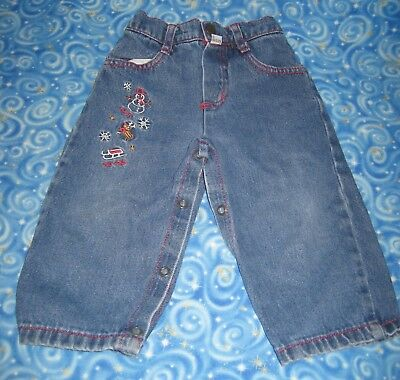 Vintage Baby GUESS Embroidered  Christmas Denim Jeans 12M 12 Months Made in USA