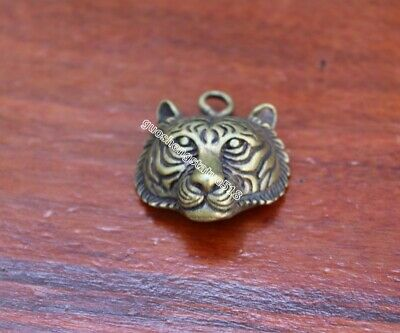 3.5 CM Pure Bronze Chinese Zodiac Animal Lucky Tiger Amulet Necklaces Pendant