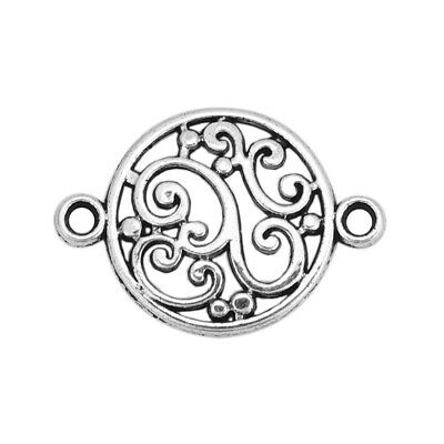 100Pcs 20x14mm Antique Silver Filigree Flower Hollow Round Connector Link Gift