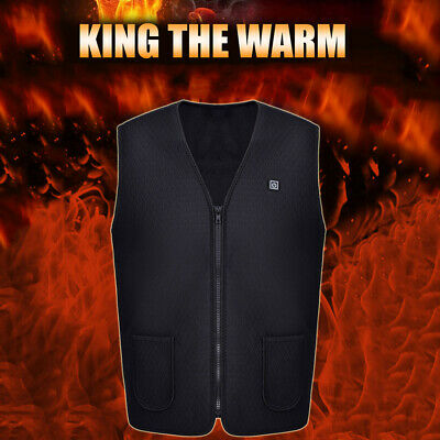 Unisex Electric Battery Heated Heating Vest Winter Warm Up Jacket USB Pocket AU