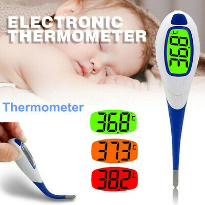 LCD Digital Medical Baby Thermometer Flexible Tip Kids Adult Oral Mouth Underarm