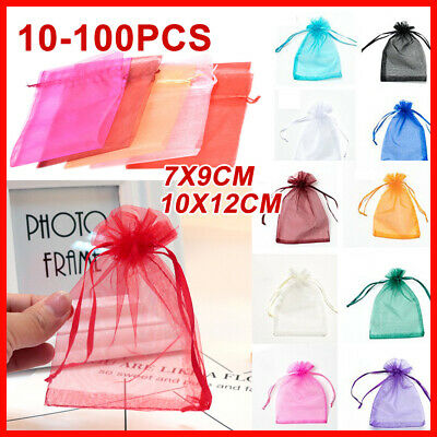 10-100Pcs Wedding Party Sheer Bags Egg Organza Bag 2 Size Candy Easter Gift