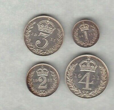 1911 George V Maundy Set Of Four Coins In Near Mint Condition