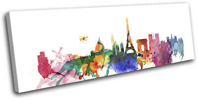 Paris Watercolour Style Abstract City SINGLE CANVAS WALL ART Picture Print