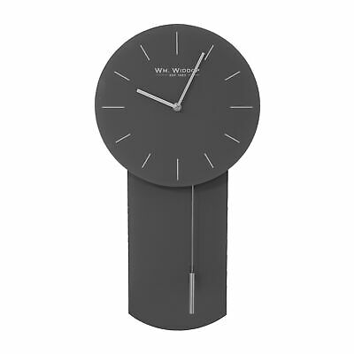 Gunmetal Grey Glass Wall Clock Silver Pendulum 52cm