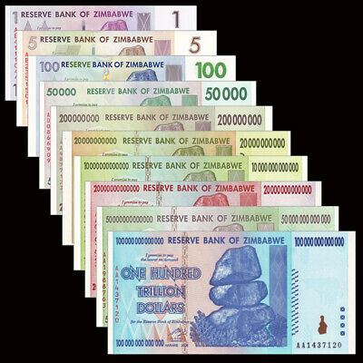 Zimbabwe 10 PCS Set, 1 5 100 50000-100 trillion Dollars, UNC