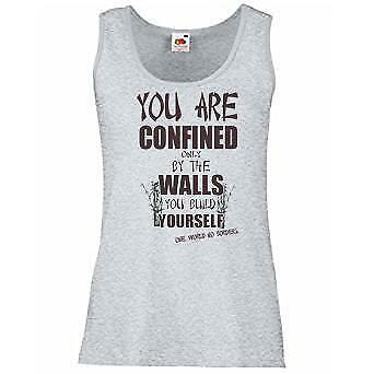 Ladies Grey Confined By Walls You Build Vest Yourself Uplifting Motivational