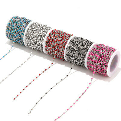 Stainless Steel Enamel Link Cable Chains for DIY Necklace Jewelry Making Finding