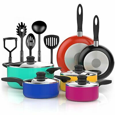 Non Stick Cookware Set Pans And Pots 15 Piece Ceramic Coating Cooking Kitchen