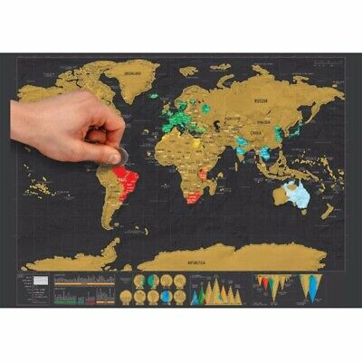 Travel Tracker Deluxe Scratch Off World Map Poster Atlas Falg Retro Maps FGJ HOT