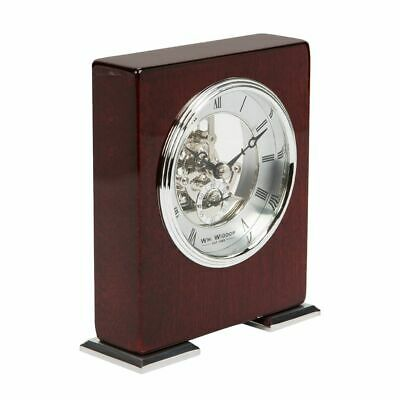 Mahogany & Gold Piano Wood Mantel Clock Skeleton Style Movement