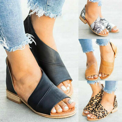 Womens Comfy Peep Toe Flat Sandal Ladies Boot Low Heel Slip On Prom Shoe Size 8