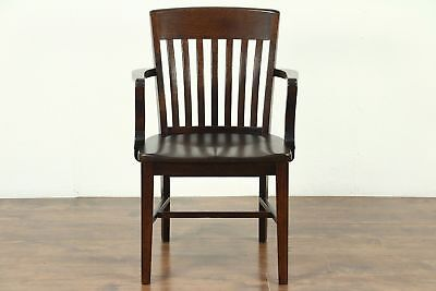 Oak 1920 Antique Banker, Library or Office Desk Chair #28879