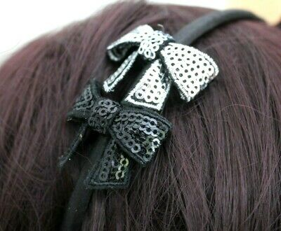 Black Silver Bow Head Alice Band  Satin Band For Festival Wedding Races Prom