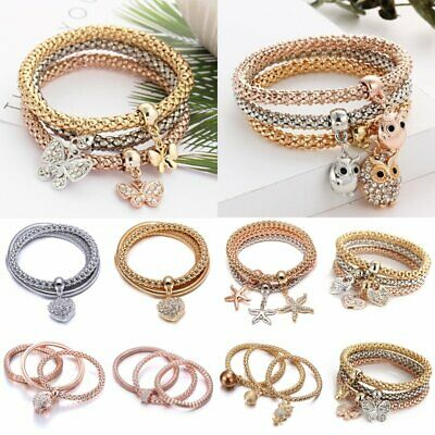3pcs Animal Heart Crown Crystal Women Handmade Wristband Bracelet Bangle Charm