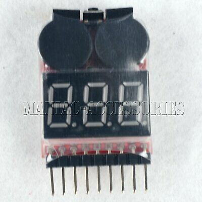 1*BX100 1-8S Lipo Li-ion Battery Voltage Tester Monitor Low-Voltage Buzzer Alarm