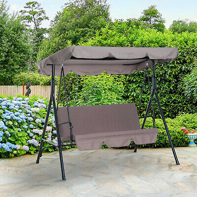 Grey Garden Hammock Swing Chair 3 Seater Adjustable Canopy Patio Outdoor Yard