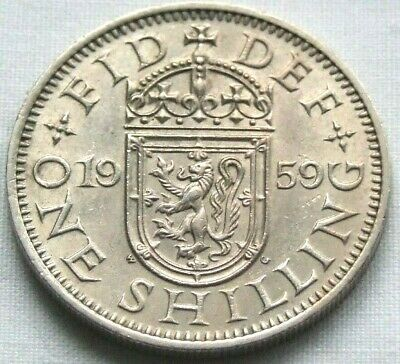 1959 Scottish Shilling - Really Nice Coin, Scarce Date - FREE POSTAGE (01C)