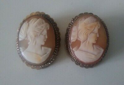 Unuusal Pair of Antique Victorian Carved Shell Cameo Brooches