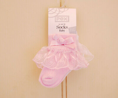 2 Pack, Pink and White, Baby / Girl, Frilly / Lace Socks, Bow and Rose Detail