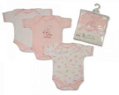 Bnwt 3 Pack Baby Girls Pink And White Short Sleeve Bodysuit / Vest