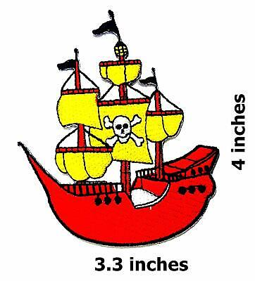 Skull Cross Bones Pirates Embroidered Iron On Patch Pirate Ship