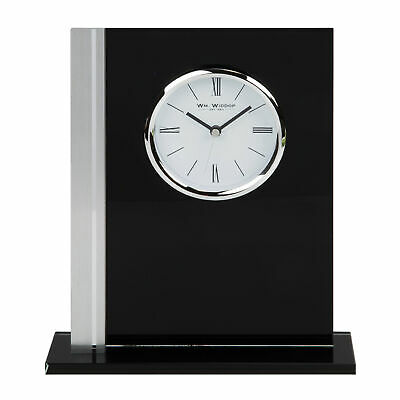Rectangular Black Glass Mantel Table Clock Silver Bezel 22.5cm