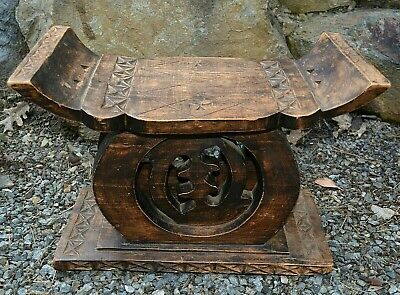 African Ashanti Tribe Hand Carved Gye Nyame Wooden Stool Chair From Ghana Africa