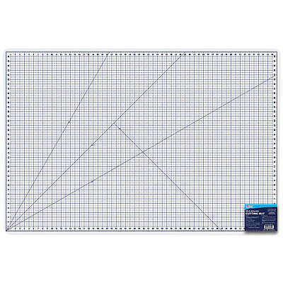 """40"""" x 60"""" WHITE/BLUE Self Healing 6-Ply Double Sided Durable PVC Cutting Mat"""