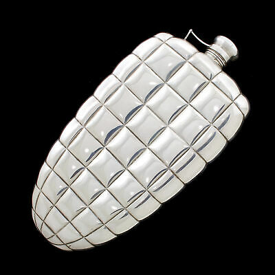 Gorham Sterling Silver Crocodile Scale Whiskey Liqueur Spirit Hip Flask 1 Pint