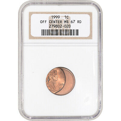 1999 US Lincoln Memorial Cent 1C - Error Off Center - NGC MS67 RD