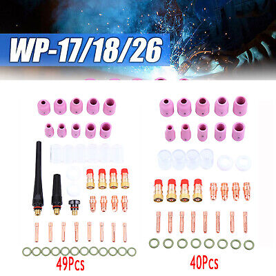 40/49pcs TIG Welding Torch Accessories Collets Body Nozzles Kit For WP-17/18/26