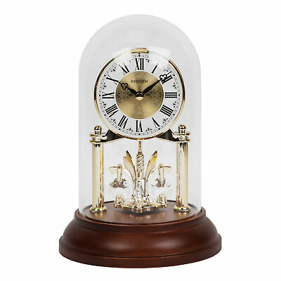 Rhythm Gold Anniversary Mantel Clock Wood Base Glass Dome w Pendulum 23 cm